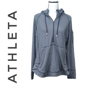 Athleta blue/white striped hoodie